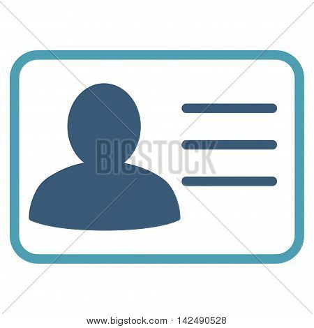 Account Card icon. Vector style is bicolor flat iconic symbol with rounded angles, cyan and blue colors, white background.