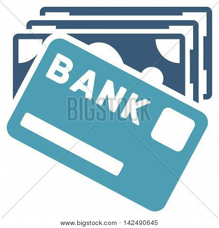 Credit Money icon. Vector style is bicolor flat iconic symbol with rounded angles, cyan and blue colors, white background.