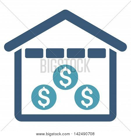 Money Depository icon. Vector style is bicolor flat iconic symbol with rounded angles, cyan and blue colors, white background.