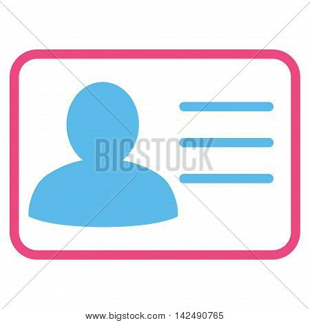 Account Card icon. Vector style is bicolor flat iconic symbol with rounded angles, pink and blue colors, white background.