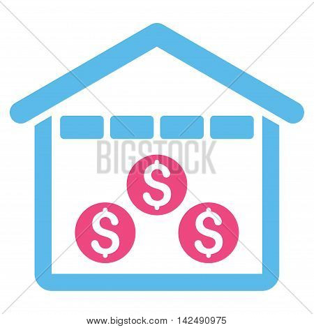 Money Depository icon. Vector style is bicolor flat iconic symbol with rounded angles, pink and blue colors, white background.
