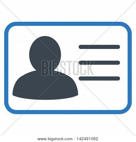 Account Card icon. Vector style is bicolor flat iconic symbol with rounded angles, smooth blue colors, white background.
