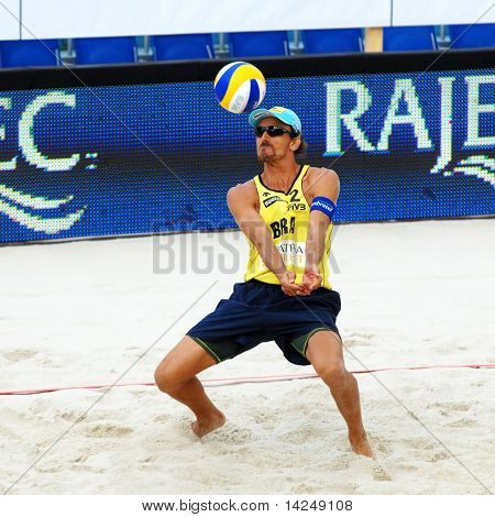 PRAGUE - JUNE 18: Emanuel Rego (BRA) beach volleyball at SWATCH FIVB World Tour 2010 June 18, 2010 Prague