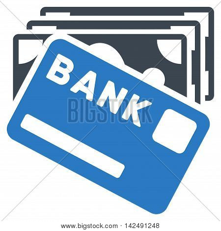 Credit Money icon. Vector style is bicolor flat iconic symbol with rounded angles, smooth blue colors, white background.