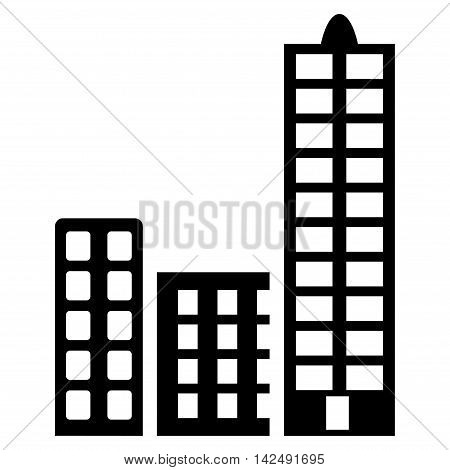 City icon. Vector style is flat iconic symbol with rounded angles, black color, white background.