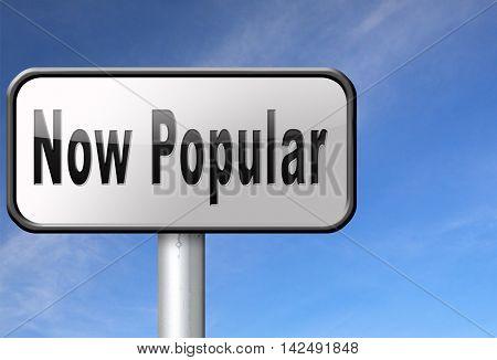 now popular, hot and trending road sign billboard. 3D illustration