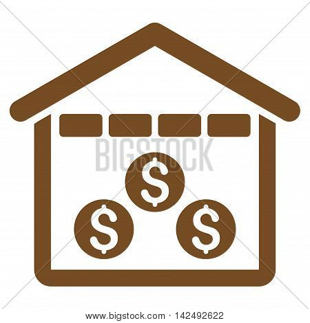 Money Depository icon. Vector style is flat iconic symbol with rounded angles, brown color, white background.
