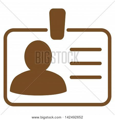 Personal Badge icon. Vector style is flat iconic symbol with rounded angles, brown color, white background.