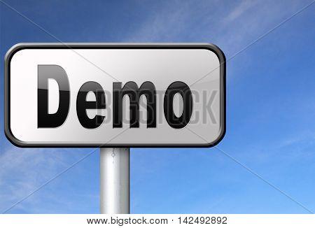 Demo for free trial download demonstration, billboard. 3D illustration