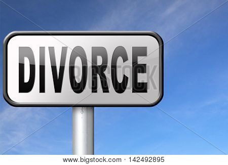 Divorce papers or document by lawyer to end marriage dissolution often after domestic violence alimony. 3D illustration