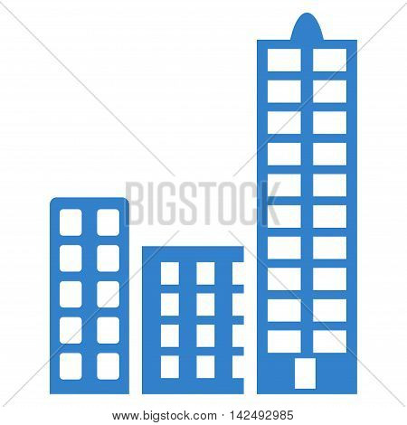 City icon. Vector style is flat iconic symbol with rounded angles, cobalt color, white background.