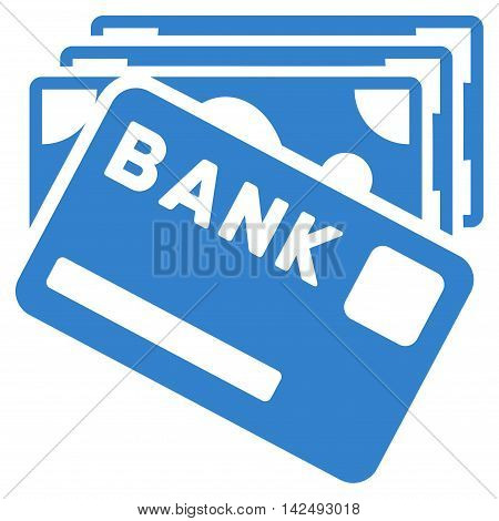 Credit Money icon. Vector style is flat iconic symbol with rounded angles, cobalt color, white background.
