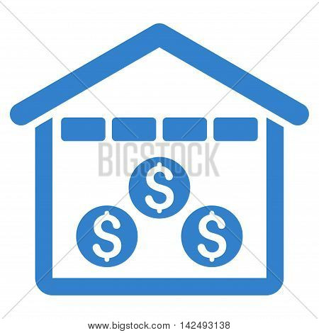 Money Depository icon. Vector style is flat iconic symbol with rounded angles, cobalt color, white background.