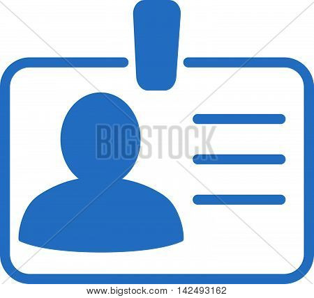 Personal Badge icon. Vector style is flat iconic symbol with rounded angles, cobalt color, white background.