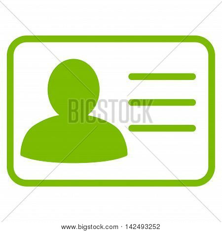 Account Card icon. Vector style is flat iconic symbol with rounded angles, eco green color, white background.