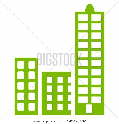 City icon. Vector style is flat iconic symbol with rounded angles, eco green color, white background.