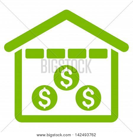 Money Depository icon. Vector style is flat iconic symbol with rounded angles, eco green color, white background.