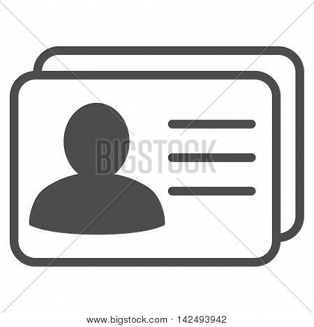 Account Cards icon. Vector style is flat iconic symbol with rounded angles, gray color, white background.