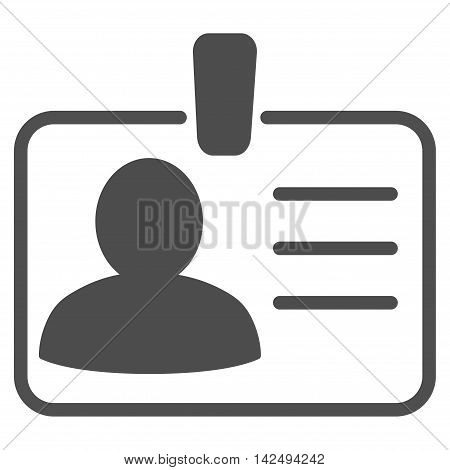 Personal Badge icon. Vector style is flat iconic symbol with rounded angles, gray color, white background.