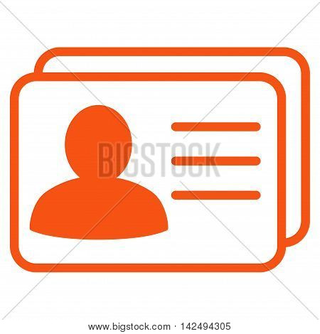 Account Cards icon. Vector style is flat iconic symbol with rounded angles, orange color, white background.