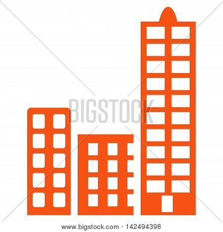 City icon. Vector style is flat iconic symbol with rounded angles, orange color, white background.