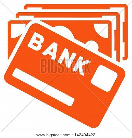 Credit Money icon. Vector style is flat iconic symbol with rounded angles, orange color, white background.