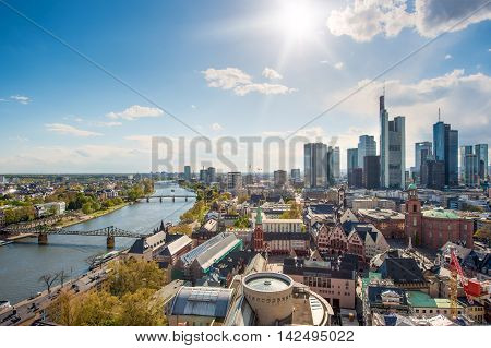 View of skyline at center business district in Frankfurt Germany. Frankfurt is financial business center of Germany and Europe.