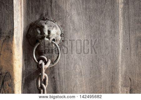 lion head as a knocker metal handle on a old wooden door