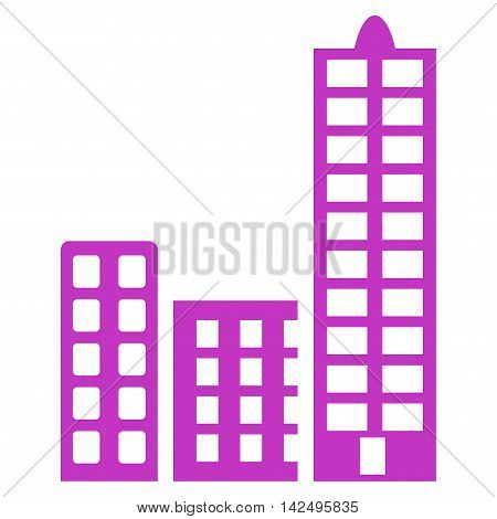 City icon. Vector style is flat iconic symbol with rounded angles, violet color, white background.