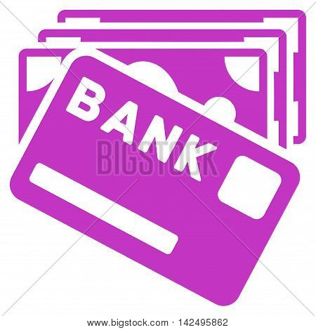 Credit Money icon. Vector style is flat iconic symbol with rounded angles, violet color, white background.