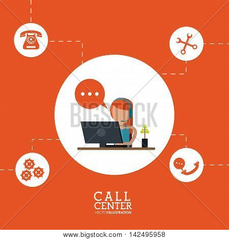 operator assistant woman headphone computer bubble gears wrench phone call center technical service icon, Vector illustration