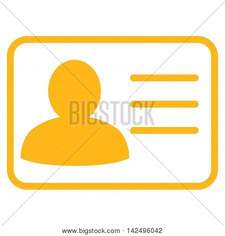 Account Card icon. Vector style is flat iconic symbol with rounded angles, yellow color, white background.