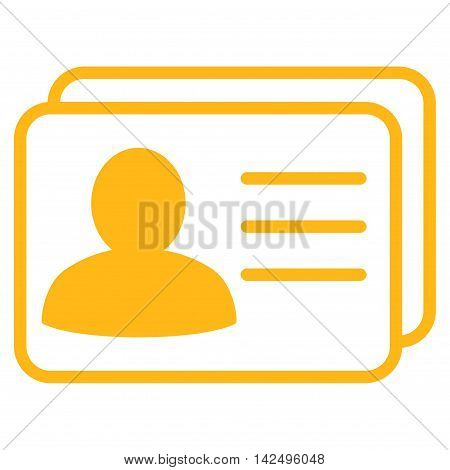 Account Cards icon. Vector style is flat iconic symbol with rounded angles, yellow color, white background.