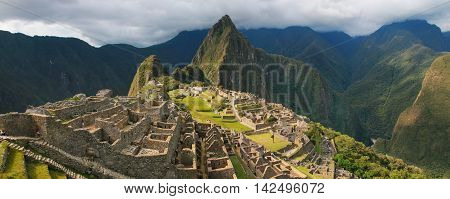 Panorama Of The Incan Citadel Machu Picchu In Peru