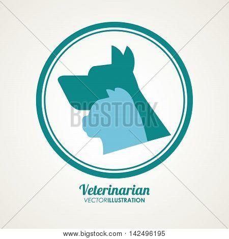 cat dog silhouette veterinarian pet clinic icon, vector illustration