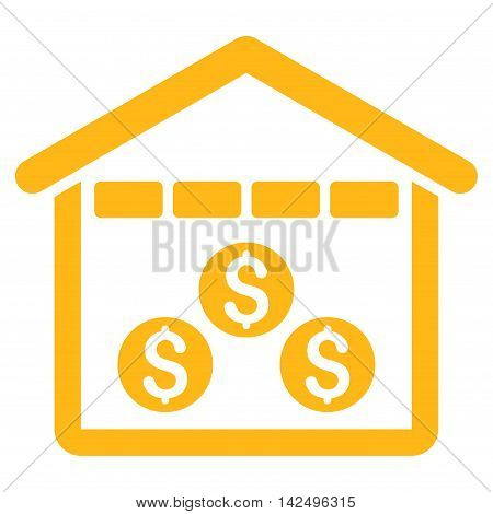 Money Depository icon. Vector style is flat iconic symbol with rounded angles, yellow color, white background.