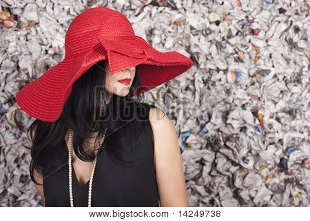 Young Woman Over The Grunge Background