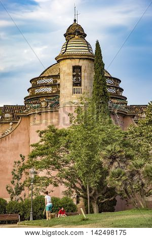 BARCELONA SPAIN - JULY 11 2016: The Military Parish Church in the Ciutadella Park in Barcelona. It was built in 1720 and is a small chapel with a cross - shaped plan.
