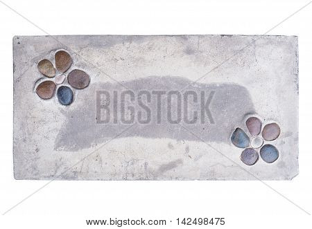 Grey cement board with stone decoration as flower. Footpath concrete board isolated on white background