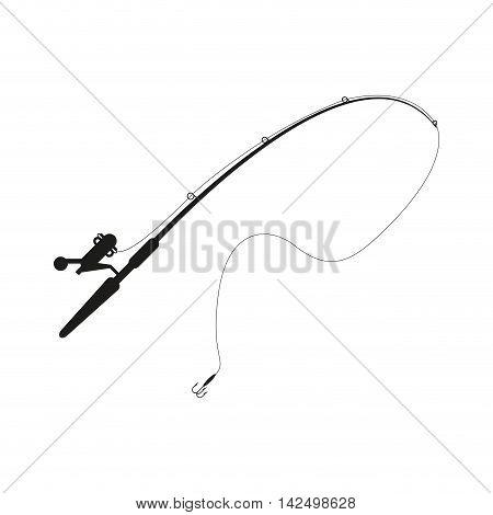 flat design fishing rod icon vector illustration