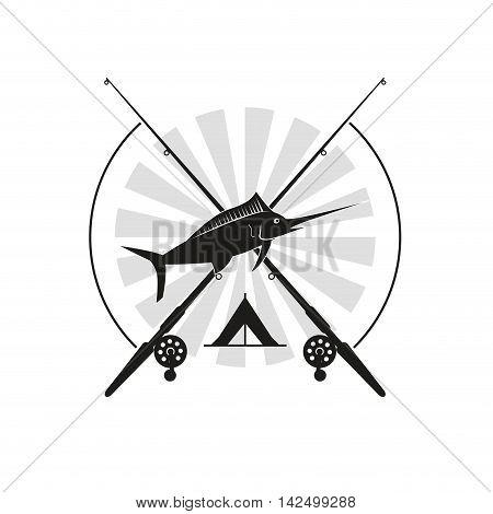 flat design fishing emblem icon vector illustration
