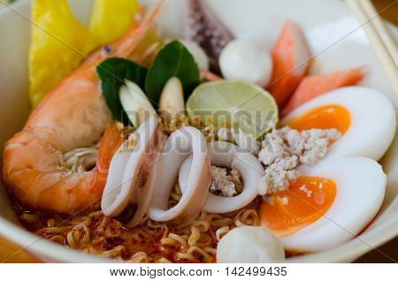 Thai style noodle tom yum kung, close up