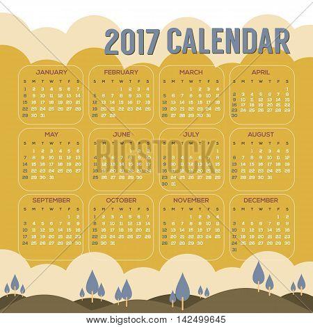 2017 Printable Calendar Starts Sunday Natural Landscape Vintage Color Vector Illustration. EPS 10