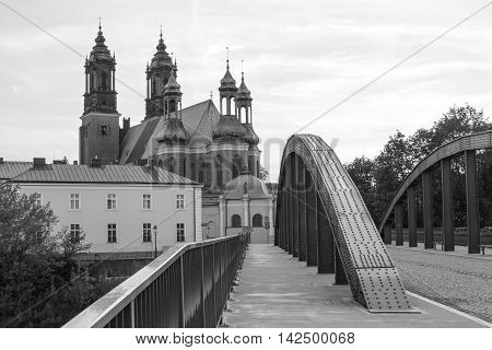 Poznan, Poland - July 1, 2016: Black And White Photo, View On Bridge And Cathedral Church In Polish