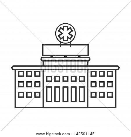 flat design hospital building icon vector illustration