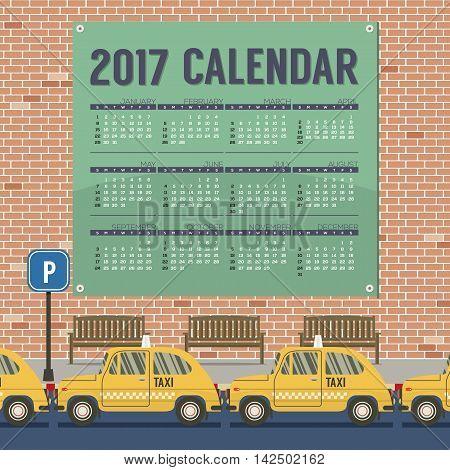 2017 Printable Calendar Starts Sunday Taxi Cars Park At Footpath Vector Illustration
