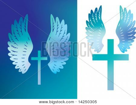 Illustration of a christian cross and angels wings