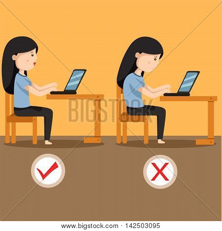 Illustrator of women sitting position two for individuals