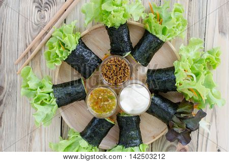 seaweed with tuna and imitation crab stick salad rolls