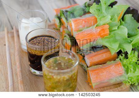 Imitation Crab Stick Salad Rolls with spicy sauce
